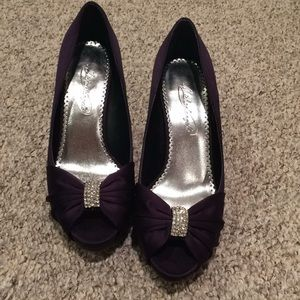 87b59e880190c0 David s Bridal Shoes - Worn once! Deep purple satin sexy bling platforms!